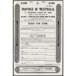 Province Of Westphalia, 7% Sterling Loan of 1926 Specimen.
