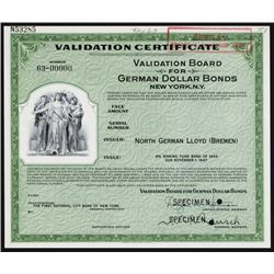 Validation Board for German Dollar Bonds, Specimen Certificate.