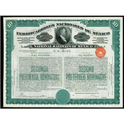 Ferrocarriles Nacionales De Mexico, Issued and Uncancelled 10 Shares - $1000 Bond or Stock.