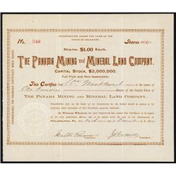 Panama Mining and Mineral Land Co. Stock Certificate.