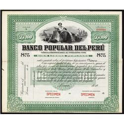 Banco Popular Del Peru Specimen Bond.