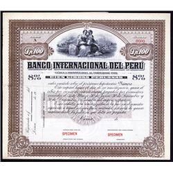 Banco Internacional del Peru Specimen Bond.