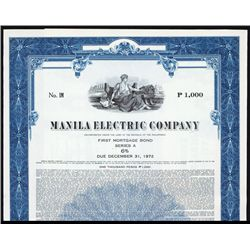 Manila Electric Co Bond Specimen Bond.