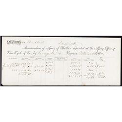 Memorandum of Assay of Bullion From Mines in Nevada.