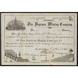 Neptune Mining Co., 1880 Stock Certificate.