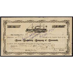 Ocean Steamship Company of Savannah Stock Certificate.