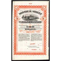 Montreal Street Railway Co.Specimen Bond.