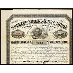Colorado Rolling Stock Trust Specimen Bond.