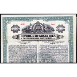 Republic of Costa Rica Pacific Railway Specimen Bond.