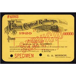 Cuban Central Railways, Limited Specimen Railroad Pass.