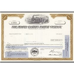 Peoria and Eastern Railway Co. Stock Certificate Group of 45+.