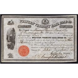 Western Vermont Rail Road Co. Stock Certificate.