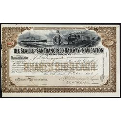 Seattle and San Francisco Railway and Navigation Co. Stock Certificate.