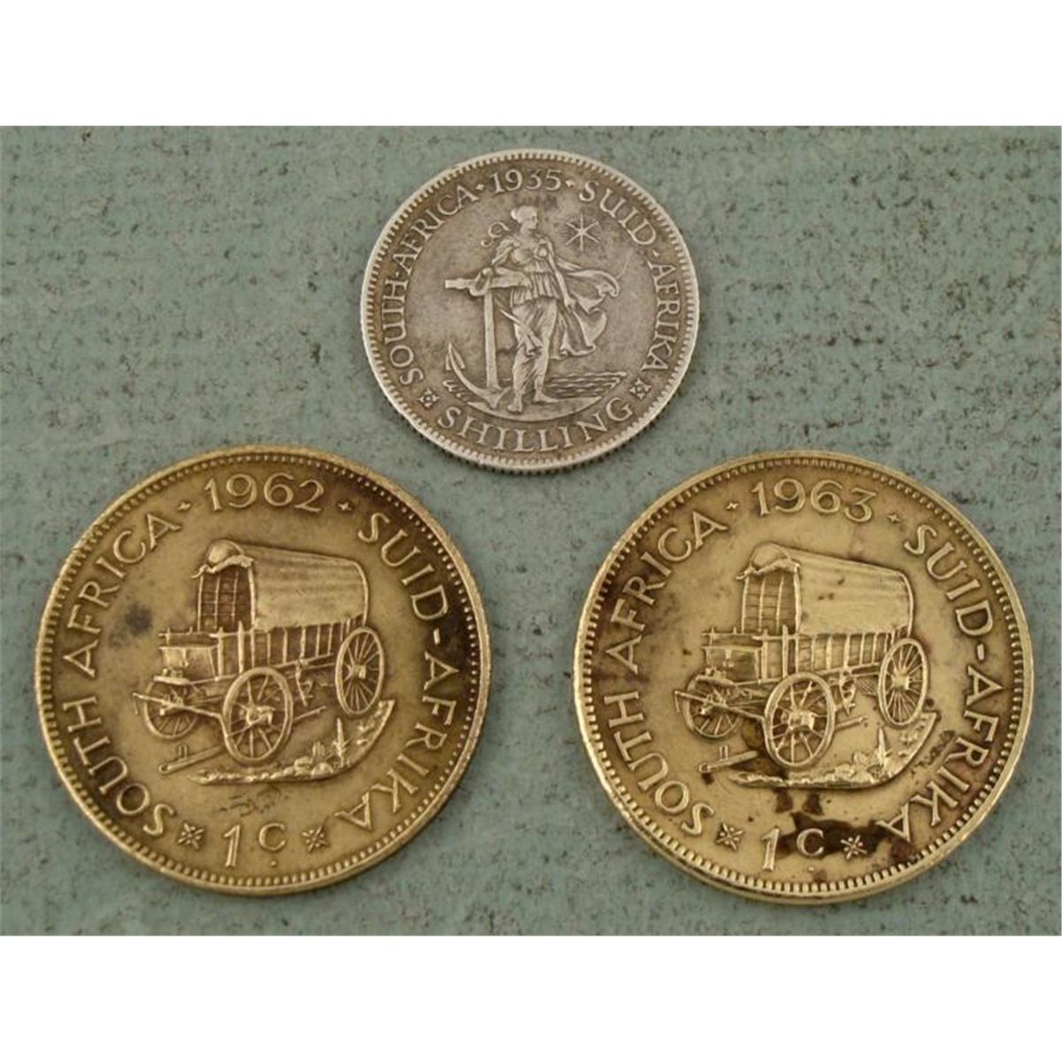 3 South African Coins 1935 1 Shilling 1962-63 1 Penny