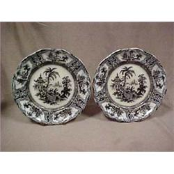 A pair of mulberry transferware plates