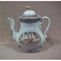 Decorated ironstone coffee pot with lid