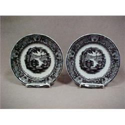 A pair of mulberry transferware plates, 7-3