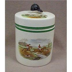 "Copeland Spode tobacco jar ""Leaping the Bro"