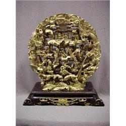 Ornate gilt wood carved panel with three