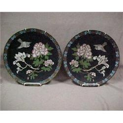 "A pair of cloisonne chargers, 12"" dia.,"