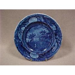 Historic blue Staffordshire plate, 6-1/2""