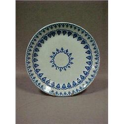 "Stick spatter plate, 8"" dia., with blue lea"