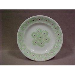"Stick spatter plate, 8-1/2"" dia. with green"