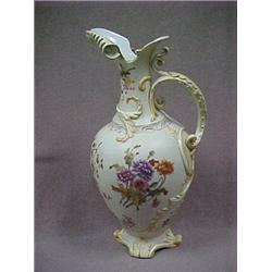 "Porcelain ewer, 16"" h., with raised swirl d"