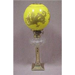 Oil lamp with cut glass font on brass push