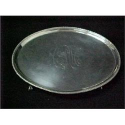 A sterling silver salver, oval form with be