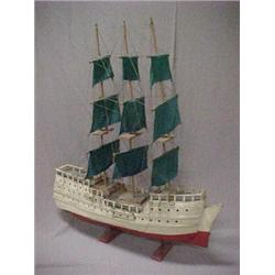 Three mast painted wooden clipper ship mode