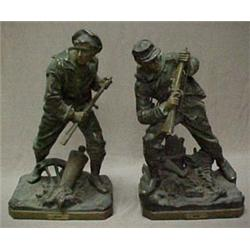 """A pair of spelter Civil War """"Navy"""" and """"Arm"""
