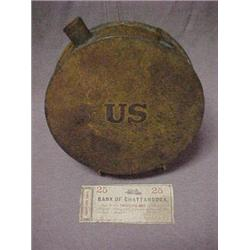 Round tin Civil War canteen, embossed US on