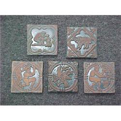 Five Mercer redware tiles, pre-1960