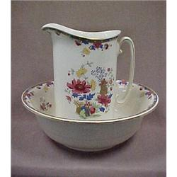 Porcelain pitcher and washbowl, C.1920
