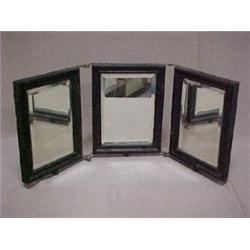 Oak framed three sectioned hinged mirror