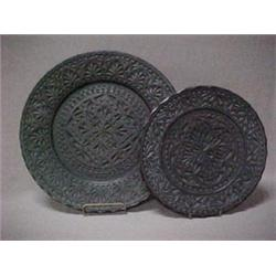 Two 19th C. Russian carved treenware plates