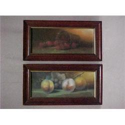 A pair of mahogany framed pastels