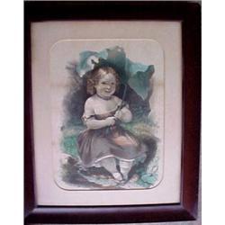 "Framed lithograph ""Little Sunshade"", signed"