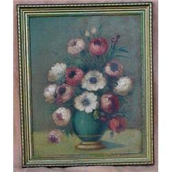 Framed oil on canvas still life of flowers,
