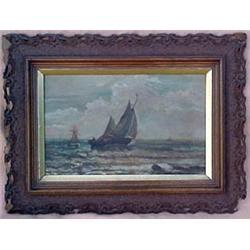 Oak framed oil on canvas, Sailboats