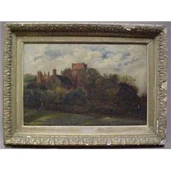 Framed oil on canvas, landscape with chateau