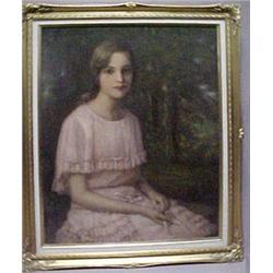 """Framed oil on board """"Portrait of Helen Wats"""