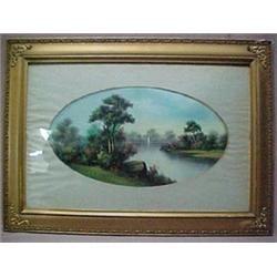 Gilt framed pastel and watercolor landscape
