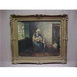 Framed oil on canvas, Dutch interior