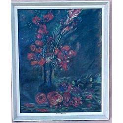 Framed oil on canvas, still life of vase wi