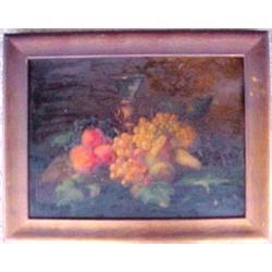 Framed oil on board, still life of fruit, a
