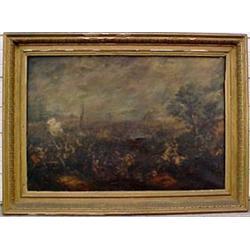 Large framed oil on canvas, European battle