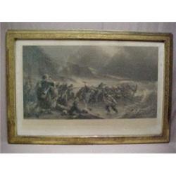 "Victorian framed engraving ""The Departure"""