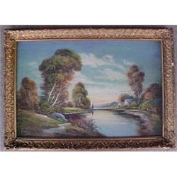 Framed pastel of landscape with lake and ho